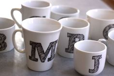 DIY Monogrammed mugs! Great idea for Christmas gifts.