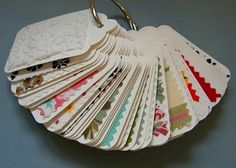This fabric swatch ring might be fun for Clara to play with if I made one with her fabrics.