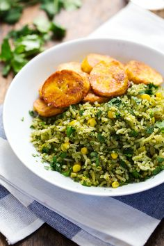Green Mexican Rice with Corn | pinchofyum.com