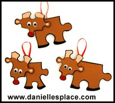 Reindeer Puzzle Piece Christmas Ornament  - directions on www.daniellesplace.com