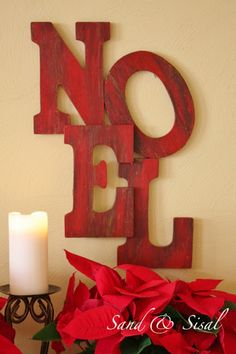 NOEL Sign inspired by Pottery Barn - easy paint-distress, + hot glue - I can see this with all kinds of words year-round too, LOVE this look. I think I'll make one for a quick Christmas gift in fact. - #WallArt #Signs #WordArt #PotteryBarn #Crafts #DIY #WoodenLetters - tå√