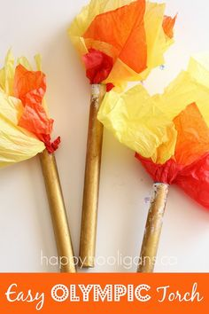 Olympic Torch Craft - cardboard tubes, tissue paper - Happy Hooligans