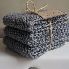 3 Hand Knitted 100 Organic Cotton Wash par UtopiaHomeAndGarden