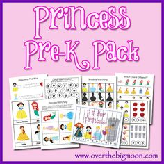 Princess Pre K Pack for Pre-K and K aged kids from www.overthebigmoon.com!  #princess #overthebigmoon