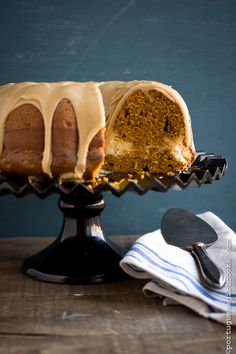 Pumpkin -Cream Cheese Swirl Bundt Cake with Brown Sugar Glaze from Portuguese Girl Cooks