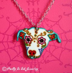 Sugar Skull Pitbull Dog Necklace - 10% to Pit Bull Rescue of the Month