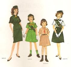 Girl Scout Uniforms that I grew-up with, 1963-1970.  In 1970 they changed the Senior Girl Scout uniform (far left) and in 1975 they changed the rest of them starting with the Cadette Girl Scouts (far right), and the following Spring, the Junior and Brownie uniforms