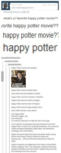 These happier Harry Potter titles. Lol. | 33 Harry Potter Jokes Even Muggles Will Appreciate