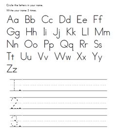 Free - Name Recognition Activity. Students circle the letters in their name. Then, they write their name three times on the lines provided. Great for Homework that first week of Kindergarten.