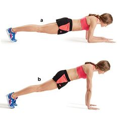 Sculpt sexier arms in just 15 minutes with this routine! Pictured: Plank-up. The other moves to do: http://www.womenshealthmag.com/fitness/upper-body-workout?cm_mmc=Pinterest-_-WomensHealth-_-Content-Fitness-_-SculptSexyArms
