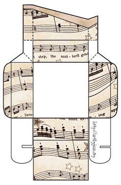 To do....print and assemble...ArtbyJean - Vintage Sheet Music: Set 003 - Vintage Sheet Music Free Clipart Biege Tan - Printable Gift Boxes