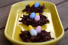 We made these No Bake Easter Nest cookies found on Prudent Baby for B.W.'s Easter Party at school!! Soooo yummy!!