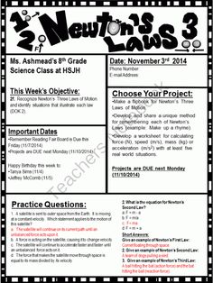 Editable Newsletter and Study Notes: Newton�s Laws of Motion (FREE until DEC) from KudzuEscapee on TeachersNotebook.com -  (2 pages)  - I created this product because I needed to give my students accurate and concise notes with a paper saving newsletter attached.