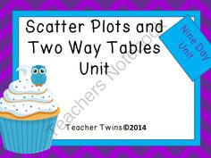 Scatter Plots and Two Way Tables Unit from Teacher Twins on TeachersNotebook.com -  (143 pages)  - This is a 9 day unit on Scatter Plots and Two Way Tables. Each day has a PowerPoint that includes a warm up with answers, notes, and a closure of the lesson. Guided notes or foldables are provided for each lesson as well as an activity and a practice shee