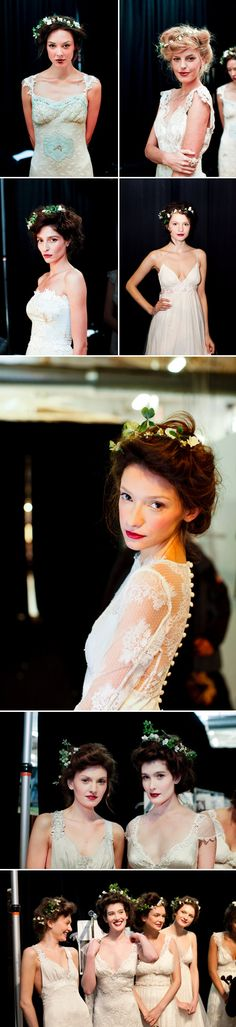Floral hair pieces add soft and feminine spirit to pretty Claire Pettibone wedding dresses, photos by Merri Cyr