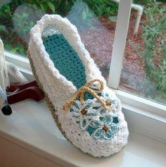Crochet Pattern 14 Women's Slippers Garden Party by Genevive