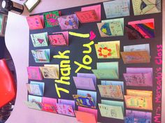 A cute way to say thank you to a classroom visitor, room mother, secretary etc. students write letters on the folded index cards then glue them to poster board. classroom idea, school, mothers, christma gift, room mother, teacher goodi, teacher thing, educ, gift idea