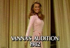 A shot from Vanna's Wheel of Fortune audition in 1982.