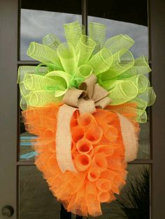 Easter Door Decoration - Tulle Carrot