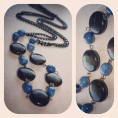 Long onyx and labradorite necklace