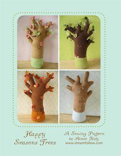 felt Happy Seasons Trees PDF pattern $5.00