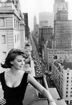 Natalie Wood overlooking Manhattan in the early 1960s