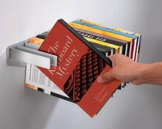 Book hanger that makes books look like they're floating. Legit.