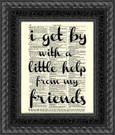 I Get By Beatles Quote on Antique by reimaginationprints on Etsy, $10.00