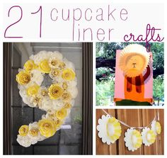 Lots of really cute cupcake liner crafts