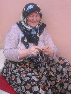 Woman Knitting socks