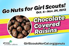 Chocolate Covered Raisins - Girl Scouts NorCal's Fall Nut & Magazine Sale is Oct. 4-Nov. 24, 2013! Help girls raise funds for fall activities and service projects! http://www.girlscoutsnorcal.org/gonuts