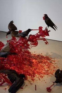 Artist Javier Pérez's glass artwork, aptly named 'Carroña,' depicts a gruesome scene between crows and their ripped apart meal. Pérez uses a blood red chandelier laying on top of broken red shards of glass to create the main focal point. When put together it portrays a scene of carrion being torn apart by crows.