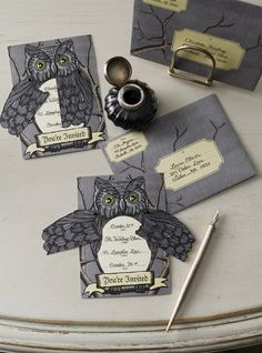 "Owl invites from Martha Stewart ""shop"".  Possibly for the witch in the woods party."