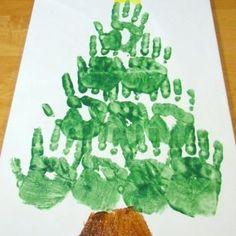 Hand print Christmas Tree {Christmas Activities for Kids} Make a keepsake with your child's hand print, a Christmas tree or wreath, to decorate with this year and every year to come. This can start a collection of canvases created by your kids each year with their handprints. These handmade keepsakes would be a treasured gift for grandparents too.