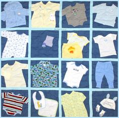 baby outfits, baby clothes quilt, memory quilts, tee shirt quilts, babi cloth, babies clothes, baby blues, memori quilt, cloth quilt