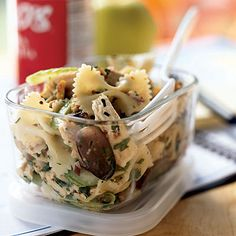 Pasta salad with rotisserie chicken, grapes and walnuts