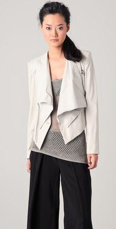 Helmut Lang Linen & Leather Combo Jacket