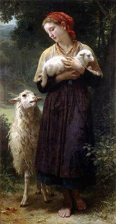 Title: The Shepherdess, 1873 Artist: Adolphe-William Bouguereau Medium: Hand-Painted Art Reproduction