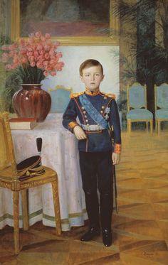 Tsarevitch Alexei in uniform - painting - official portrait