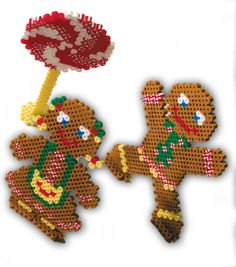 Christmas gingerbread kids perler fuse beads