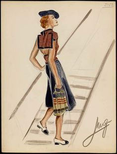 Jean Patou Fashion Sketch