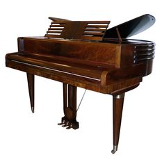 Fine Streamline Art Deco Butterfly Wurlitzer Baby Grand Piano