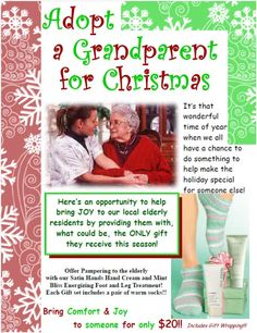 This idea is fabulous! ADOPT a GRANDPARENT FOR CHRISTMAS!  http://www.marykay.com/lisabarber68 Call or text 386-303-2400