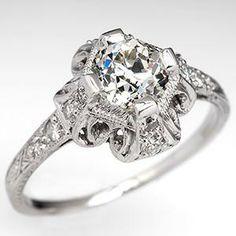 Edwardian Era Engagement Ring w/ Old Euro Diamond Platinum 1910's