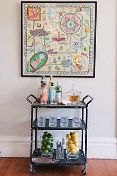 Meg Galligan Home Tour // bar cart // photography by Andi Hatch // styling by Meg Galligan