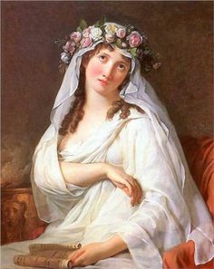 A Vestal Virgin Crowned With Flowers - Jacques-Louis David.  Art Experience NYC  www.artexperiencenyc.com/social_login/?utm_source=pinterest_medium=pins_content=pinterest_pins_campaign=pinterest_initial