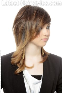 Asymmetric Ombre Shag Hairstyle Side View