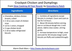 crockpot chicken and dumplings recipe card... I would def add peas and carrots to the mix.
