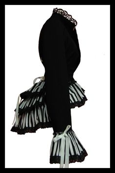 Side View - GOTHIC STEAMPUNK CARNIVALE QUEEN STRIPED VICTORIANA BUSTLE CORSET JACKET by lovechild Boudoir