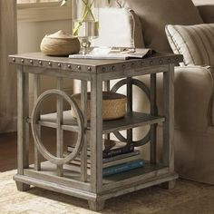 Lexington Twilight Bay Wyatt Lamp Table in Distressed Textured Soft Taupe Gray
